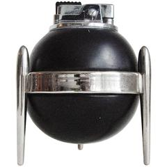 Japanese Mid-Century Chrome & Black Enameled Wood Wheel & Flint Table Lighter