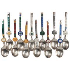12 Enameled Sterling Silver Modern Zodiac Spoons by Paul Gauguin for a Michelsen