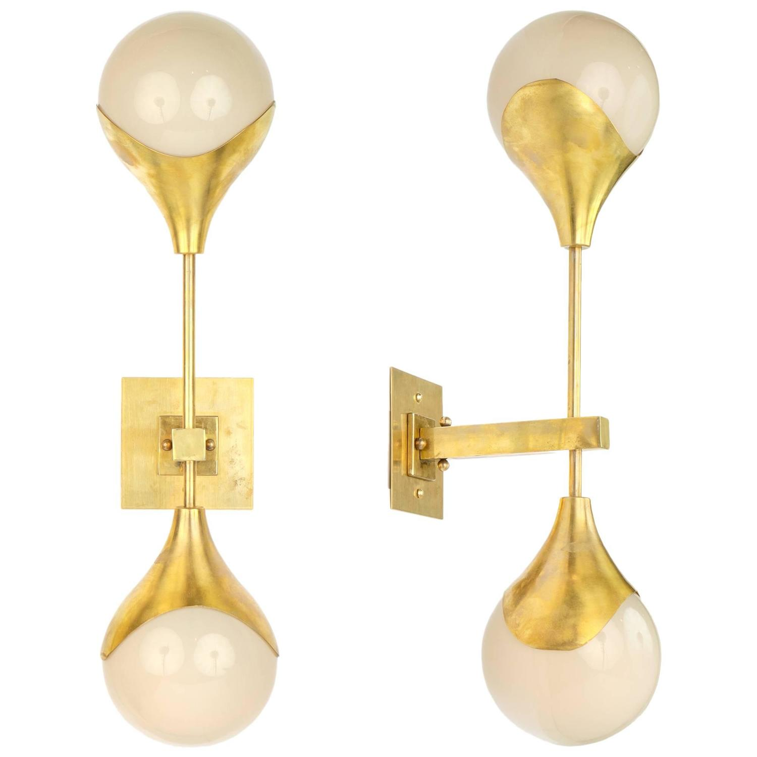 Italian murano glass and brass wall sconces at 1stdibs aloadofball Choice Image