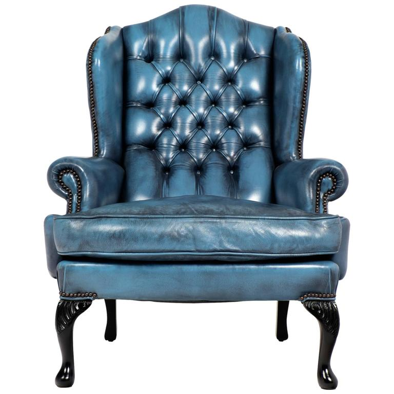 vintage steel blue leather chesterfield wingback armchair at 1stdibs. Black Bedroom Furniture Sets. Home Design Ideas