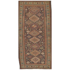 Antique Hand Knotted Wool Caucasian Shirvan Runner Rug