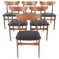 Set of Six Danish Modern Dining Chairs in Teak by Schiønning and Ellegaard