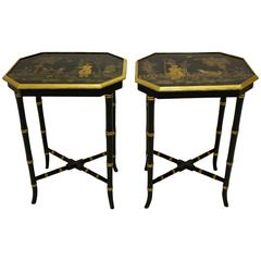 Pair of Ebonized and Gilt-Japanned Polychrome Occasional Tables, Oriental Scenes