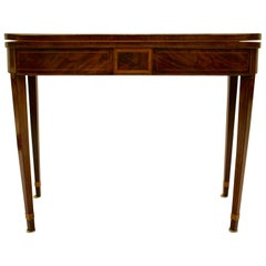 George III Inlaid Light-Toned Mahogany and Satinwood D-form Folding Card Table