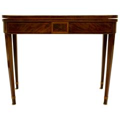 George III Inlaid Light-Toned Mahogany and Satinwood Games Table