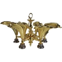 Unusual Cast Brass Hollywood Regency Calla Lily Hanging Fixture