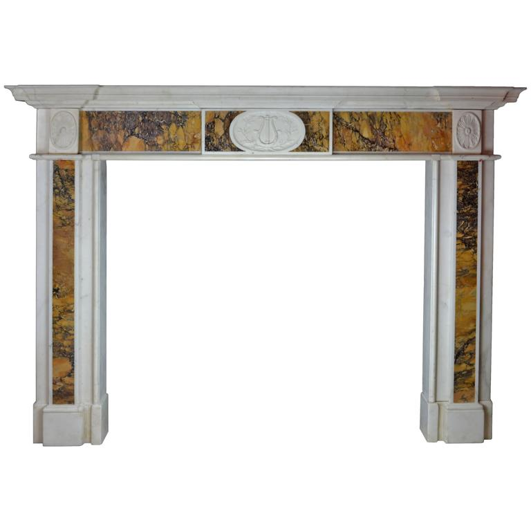 "18th Century ""Dublin"" Chimneypiece in Statuary Marble with Siena Marble 1"