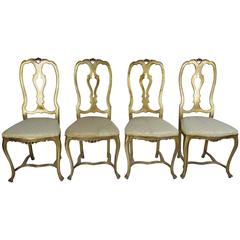 Set of Four Rococo Style Gilt Aluminium Chairs, 1960s