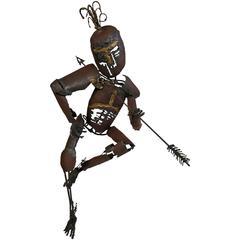 "Mid-Century Modern Brutalist Sculpture ""Man with Arrow""  Fantoni"