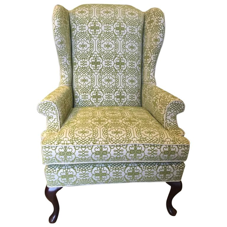 Queen Anne Style Wingback Chair at 1stdibs