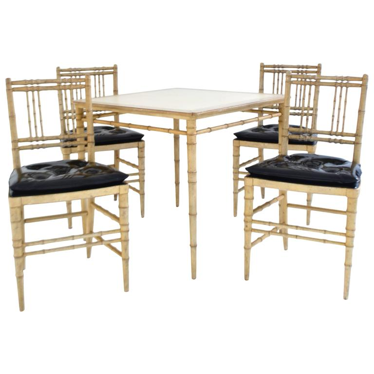 Superior Faux Bamboo Game Table And Chairs Set For Sale