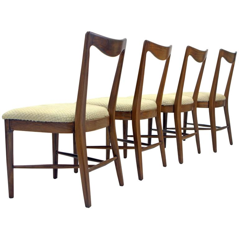 Set of Four Italian Walnut, Scalloped Hide Dining Chairs in Style of Paolo Buffa For Sale