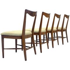 Set of Four Italian Walnut, Scalloped Hide Dining Chairs in Style of Paolo Buffa