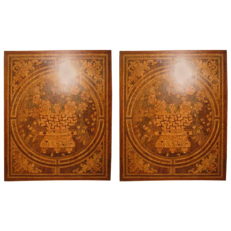 French Inlaid Wood Panels, Marquetry