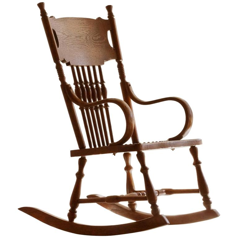 This Antique Childs Rocking Chair with Hand-Tooled Leather Seat is no ...