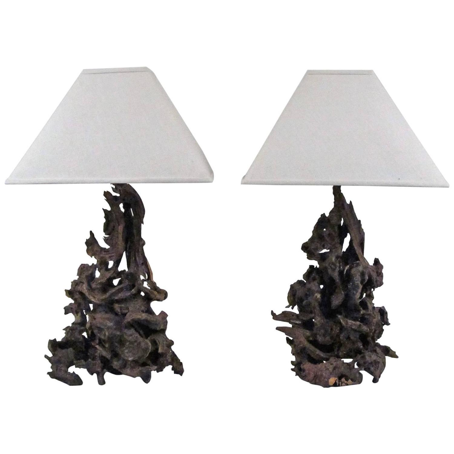 Pair of handmade burl driftwood table lamps at 1stdibs for Driftwood tables handmade