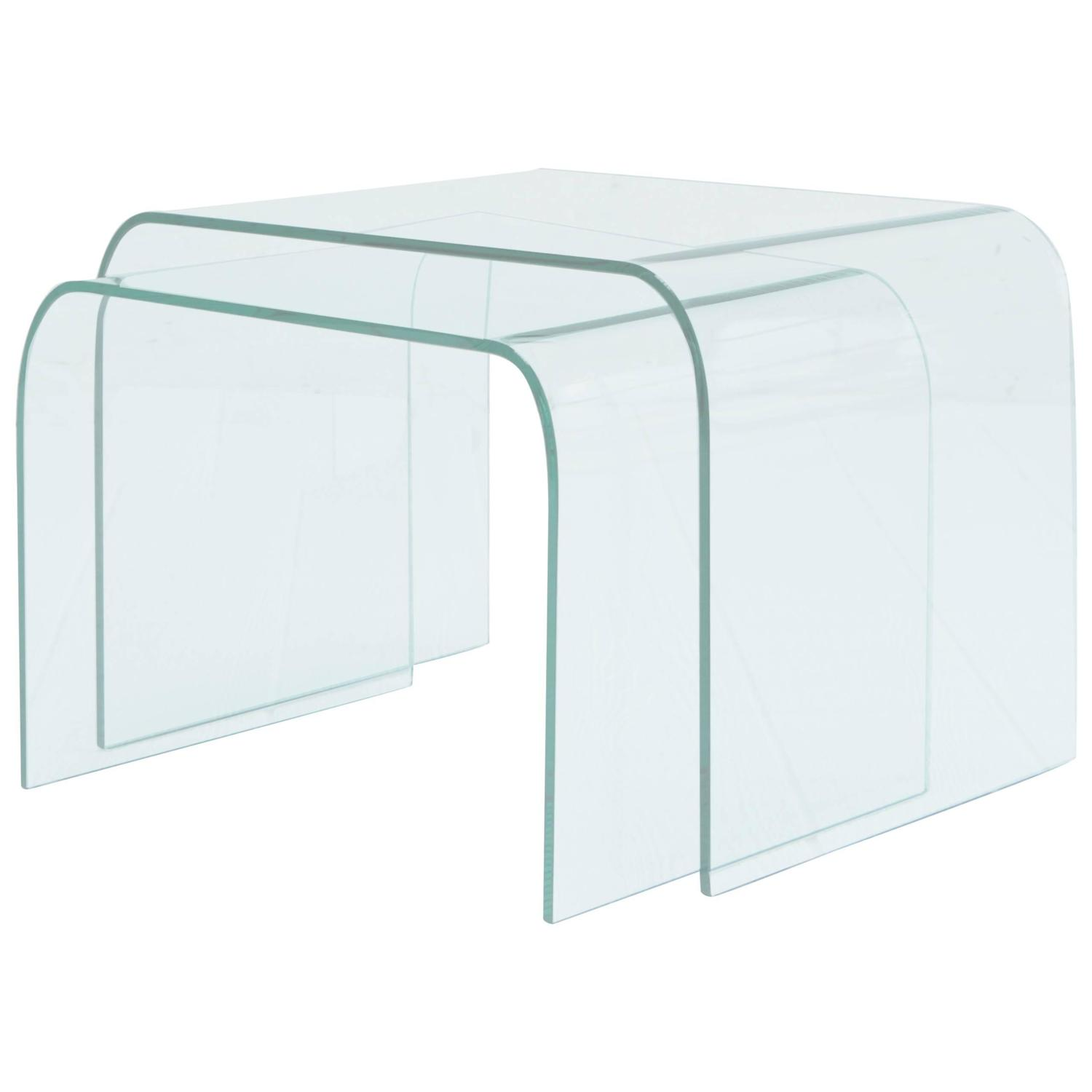 Angelo Cortesi Curved Glass Waterfall Nesting Tables at 1stdibs