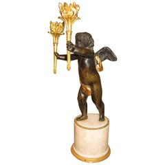 Bronze Cherub Candelabra, French