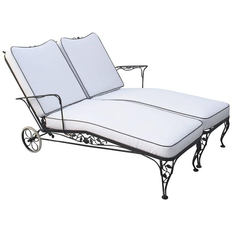 Wrought iron lounge chaise for two designed by russell for Black metal chaise lounge