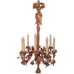 French 19th Century Gilt Bronze Floral Chandelier
