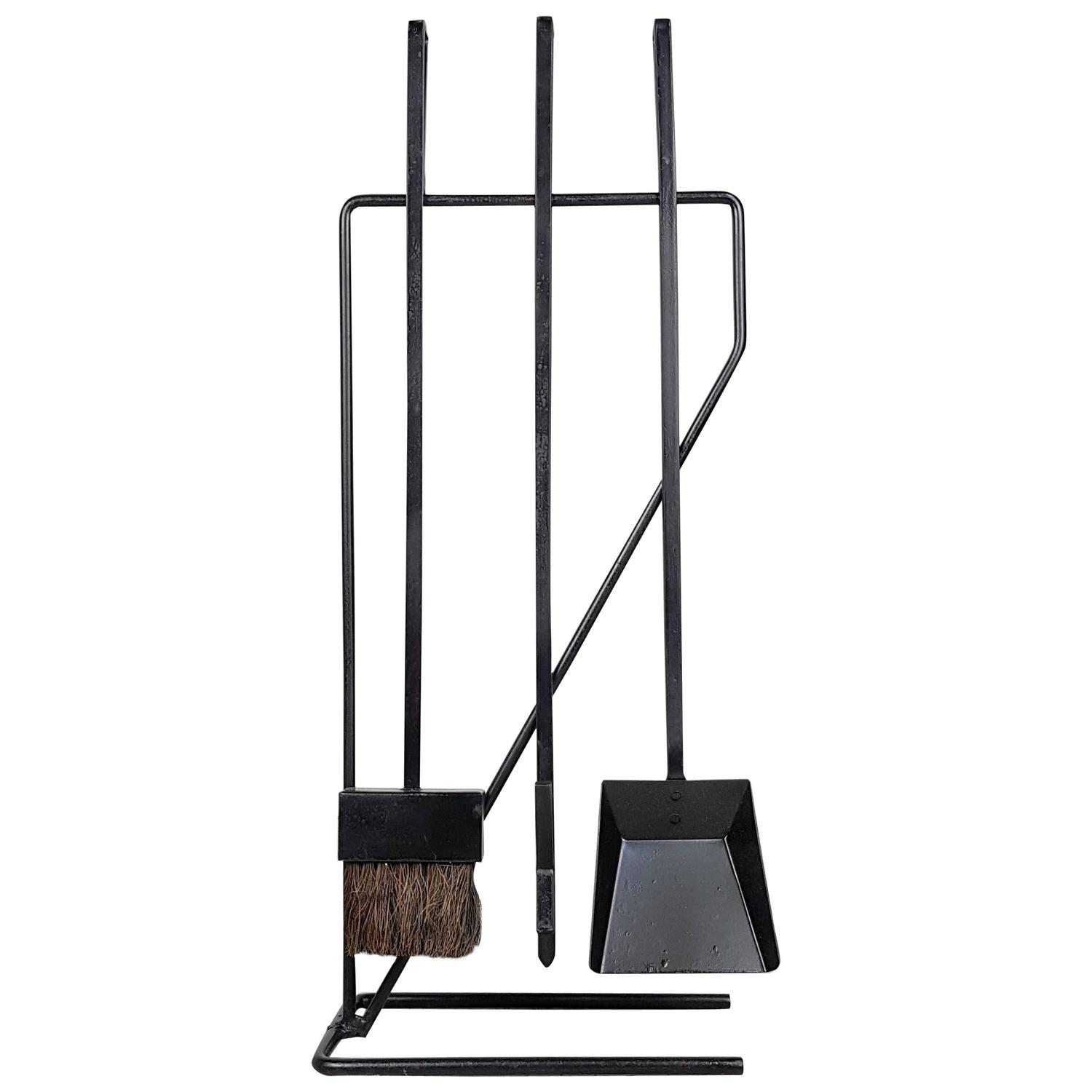 Minimal Modernist Wrought Iron Fireplace Tools After George Nelson
