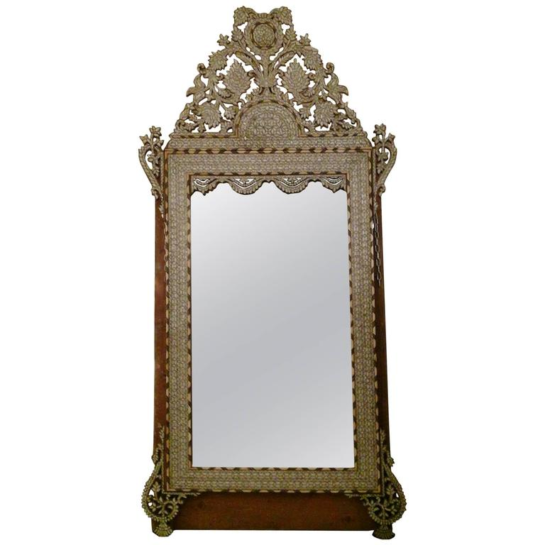 Grand Scale Antique Late 19th Century Syrian Mirror For