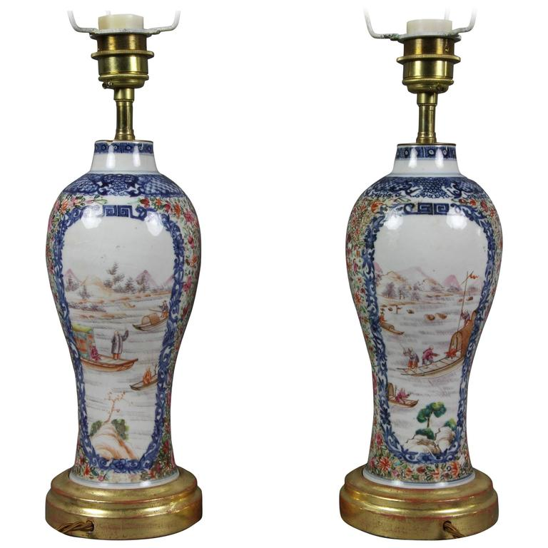 Pair of Chinese Export Porcelain Vases Mounted As Lamps
