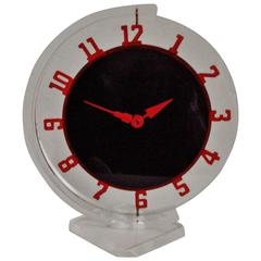 Canadian Art Deco Lucite and Painted Metal Mechanical Swivel Desk Clock