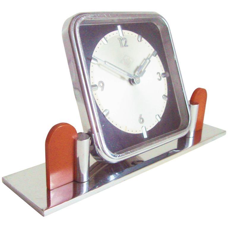 German Art Deco Chrome and Bakelite O&K Presentation Mechanical Table Clock For Sale