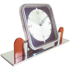 German Art Deco Chrome and Bakelite O&K Presentation Mechanical Table Clock