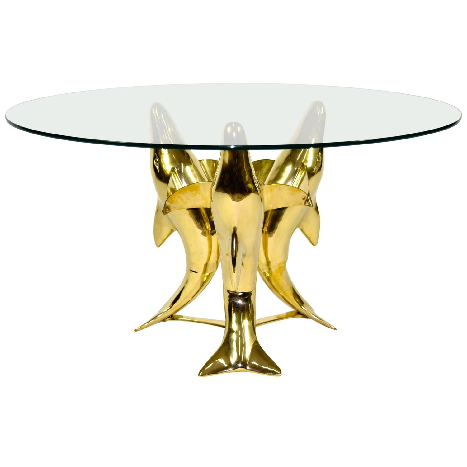 Brass Dolphin Base Coffee Or Side Table For Sale At 1stdibs