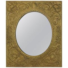 Antique Tin Framed Mirror