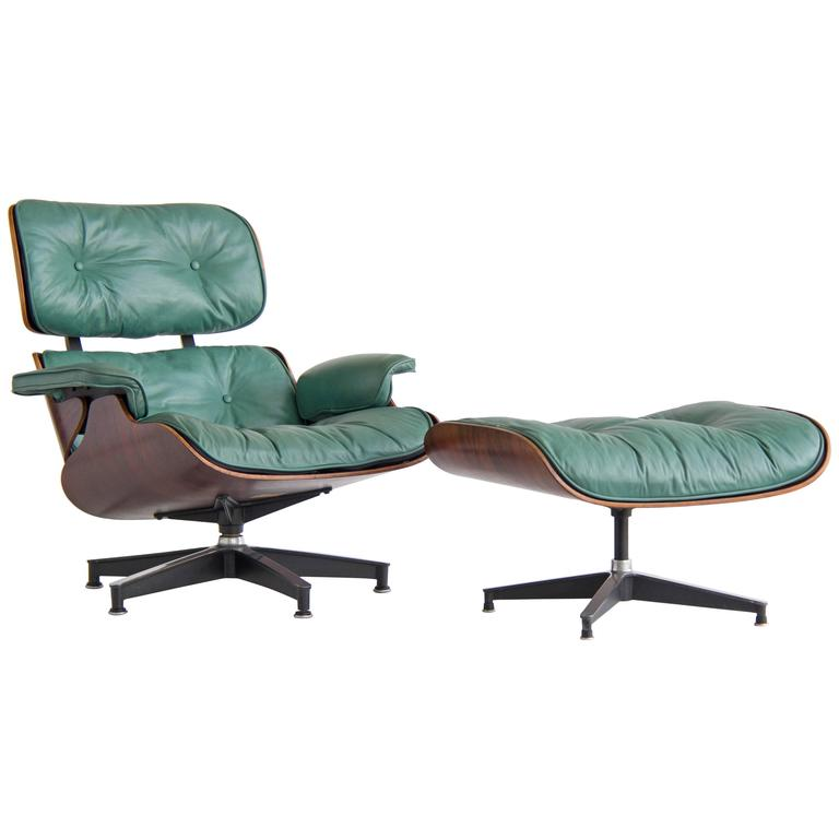 Early Special Order Green Leather Rosewood Eames Lounge Chair And Ottoman At