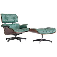 Early Special Order Green Leather Rosewood Eames Lounge Chair and Ottoman