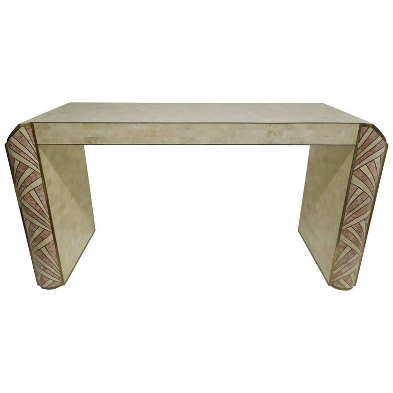Art deco console table inlaid stone by maitland smith for for Table 52 art smith