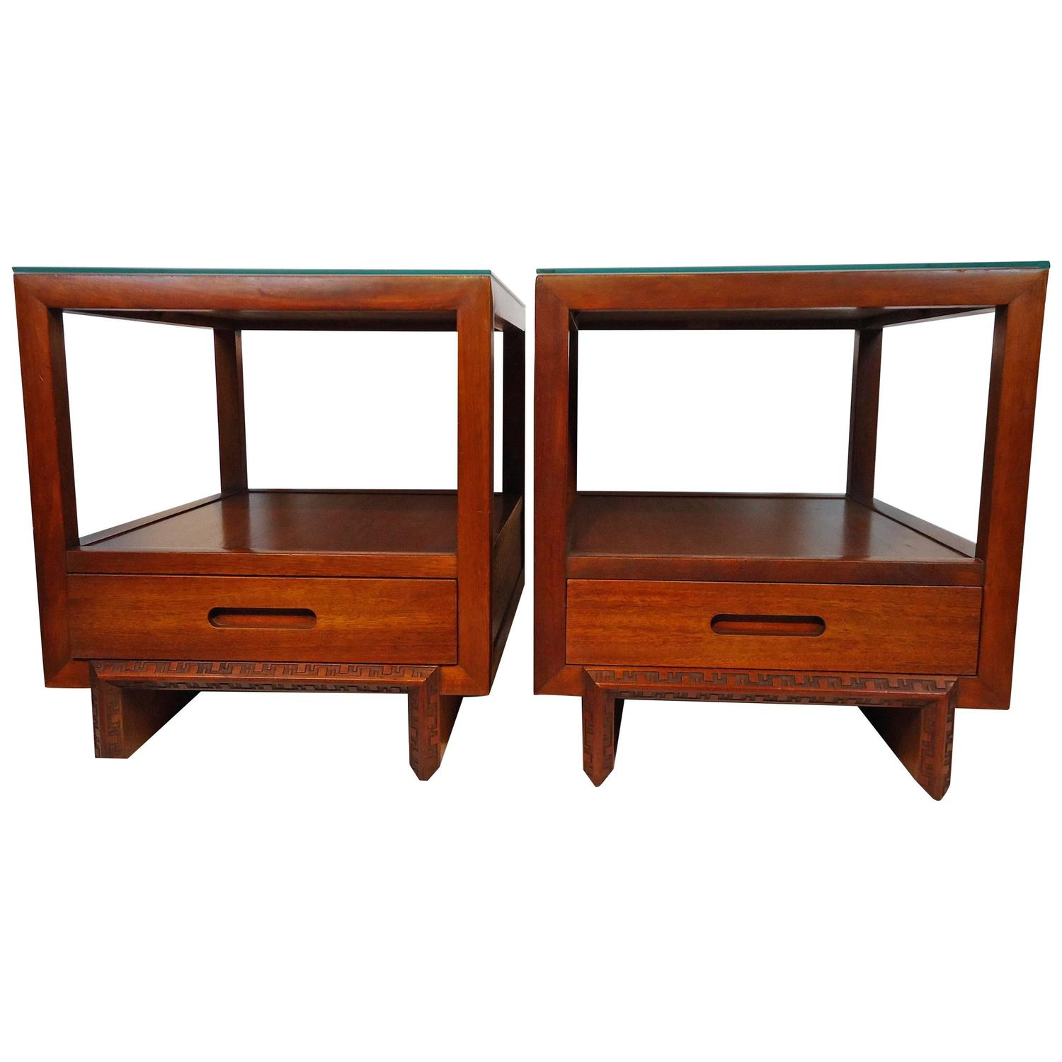 Wood Coffee Table together with Heritage Henredon Mahogany End Tables