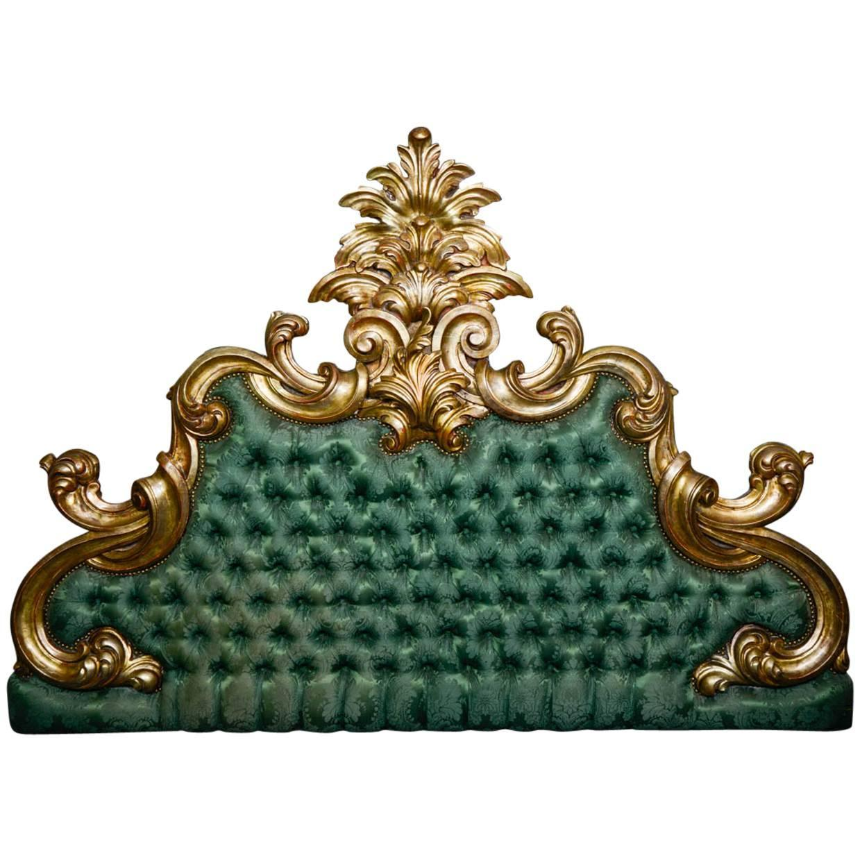 Gilded wood head bed baroque style for sale at 1stdibs for Baroque style bed