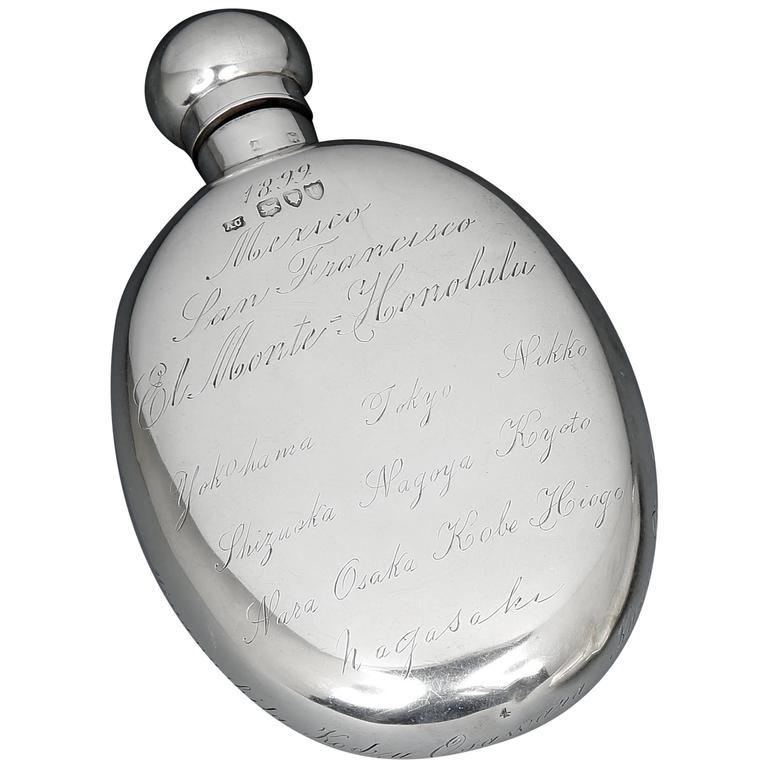 Gentleman's Sterling Silver 'World Tour' Hipflask, 1879