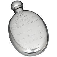 Gentleman's Sterling Silver 'World Tour' Hipflask, 1879