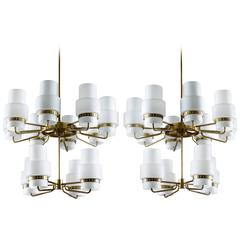 Large Chandeliers in Brass and Frosted Opaline Glass