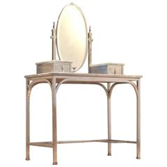 Attributed to Michel Dufet Polished Zinc and Grey Turquin Marble Vanity Table