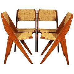 Set of Four Chairs Attributed to Pierre Jeanneret