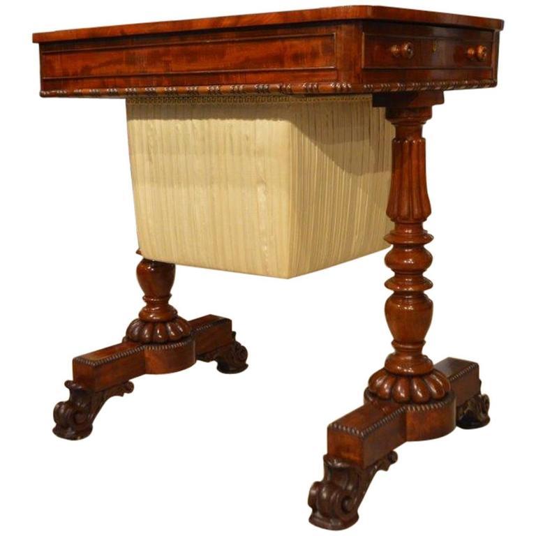 superb flame mahogany regency william iv period antique work table for sale at 1stdibs. Black Bedroom Furniture Sets. Home Design Ideas