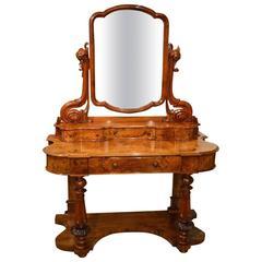 """Beautiful Burr Walnut and Walnut Victorian Period """"Duchess"""" Dressing Table"""