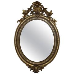 19th Century Gold Gilded Oval Mirror