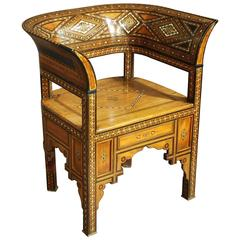 Late 19th-Early 20th Century Middle Eastern Damascus Armchair