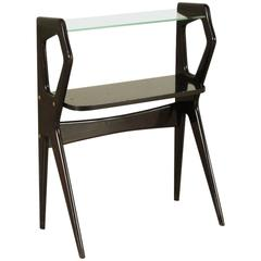 Midcentury Small Glass Ebony Stained Wood Console in the Style of Borsani
