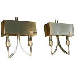 1970 French Work Pair of Chrome-Plated Metal and Stainless Steel Sconces
