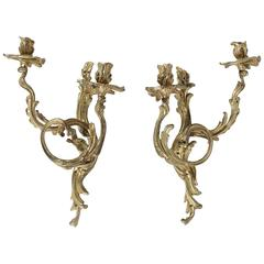 Pair of Late 19th Century French Louis XV Style Ormulu Sconces