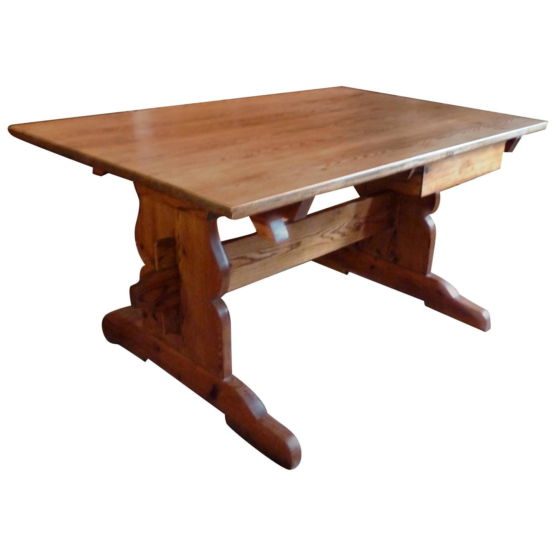 19th Century Swedish Trestle Farm Table at 1stdibs